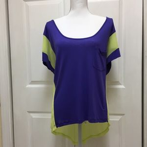 Decree | Purple/Yellow Hi Lo Scoop Neck Tee| Sz XL